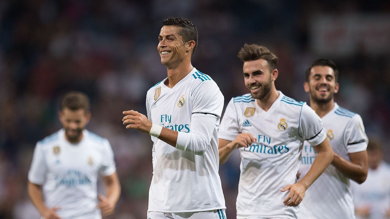 Cristiano Ronaldo celebrates after scoring a goal in a friendly between Real Madrid and Fiorentina.