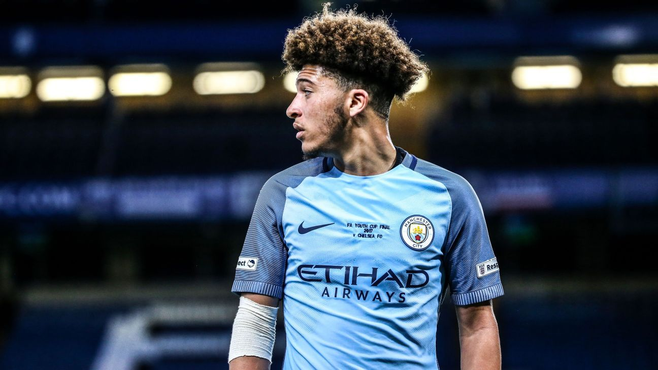 Jadon Sancho in action for Manchester City in the FA Youth Cup Final.