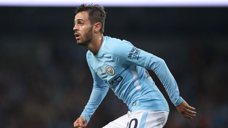 Bernardo Silva in action for Manchester City.