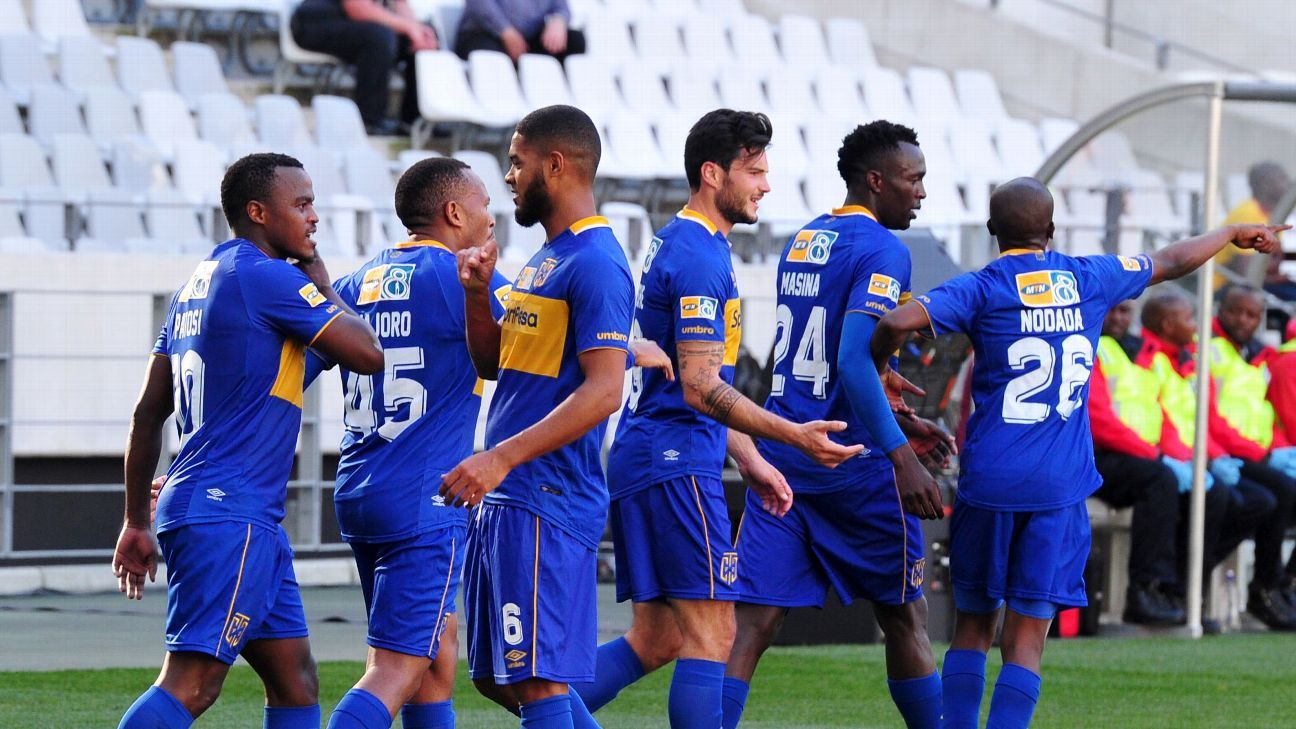 Cape Town City players celebrate a goal scored by Ayanda Patosi