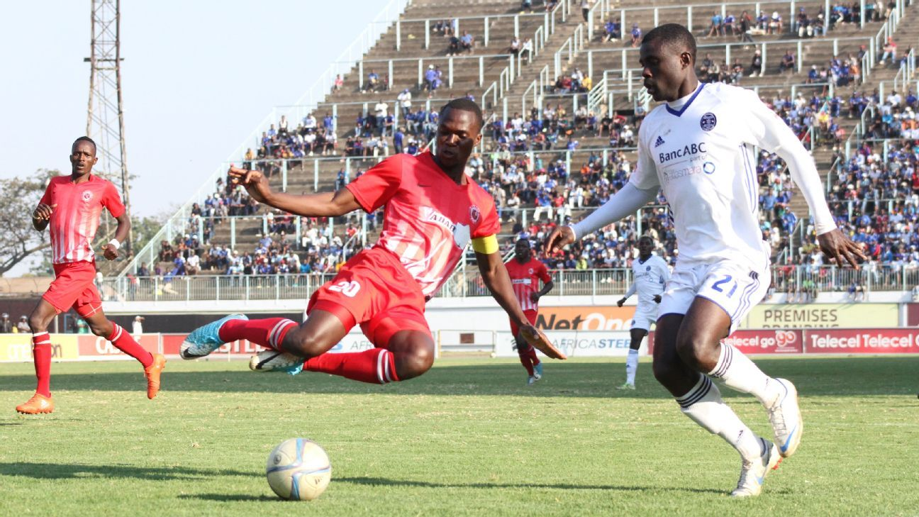 Yadah FC skipper Jimmy Dzingai attempts to stop Dynamos' Christian Epoupa Ntouba