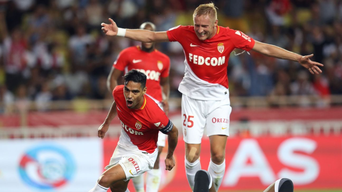 Falcao celebrates one of his two goals against Marseille on Sunday.