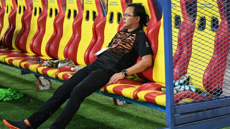 Malaysia coach Ong Kim Swee dejected after SEA Games final