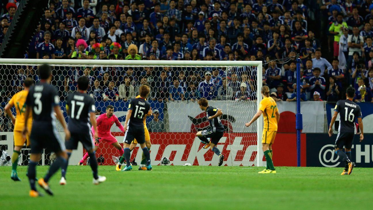 Japan's Takuma Asano scores vs Australia 2017