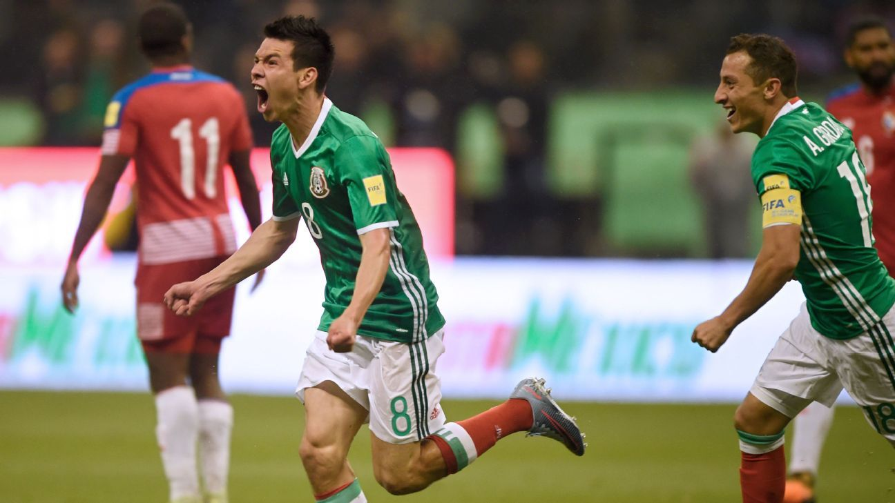 Hirving Lozano celebrates after opening the scoring for Mexico against Panama.