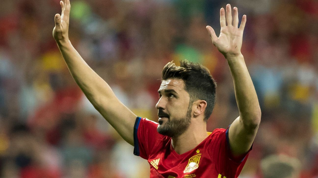 David Villa has earned 98 caps for Spain.