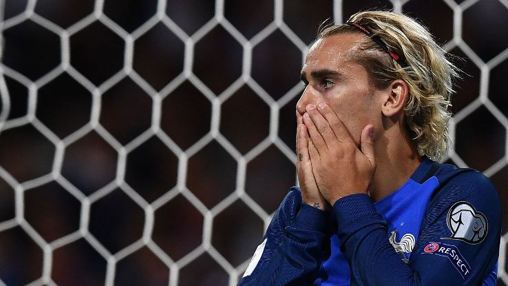 Antoine Griezmann reacts after missing a shot in France's draw with Luxembourg on Sunday.