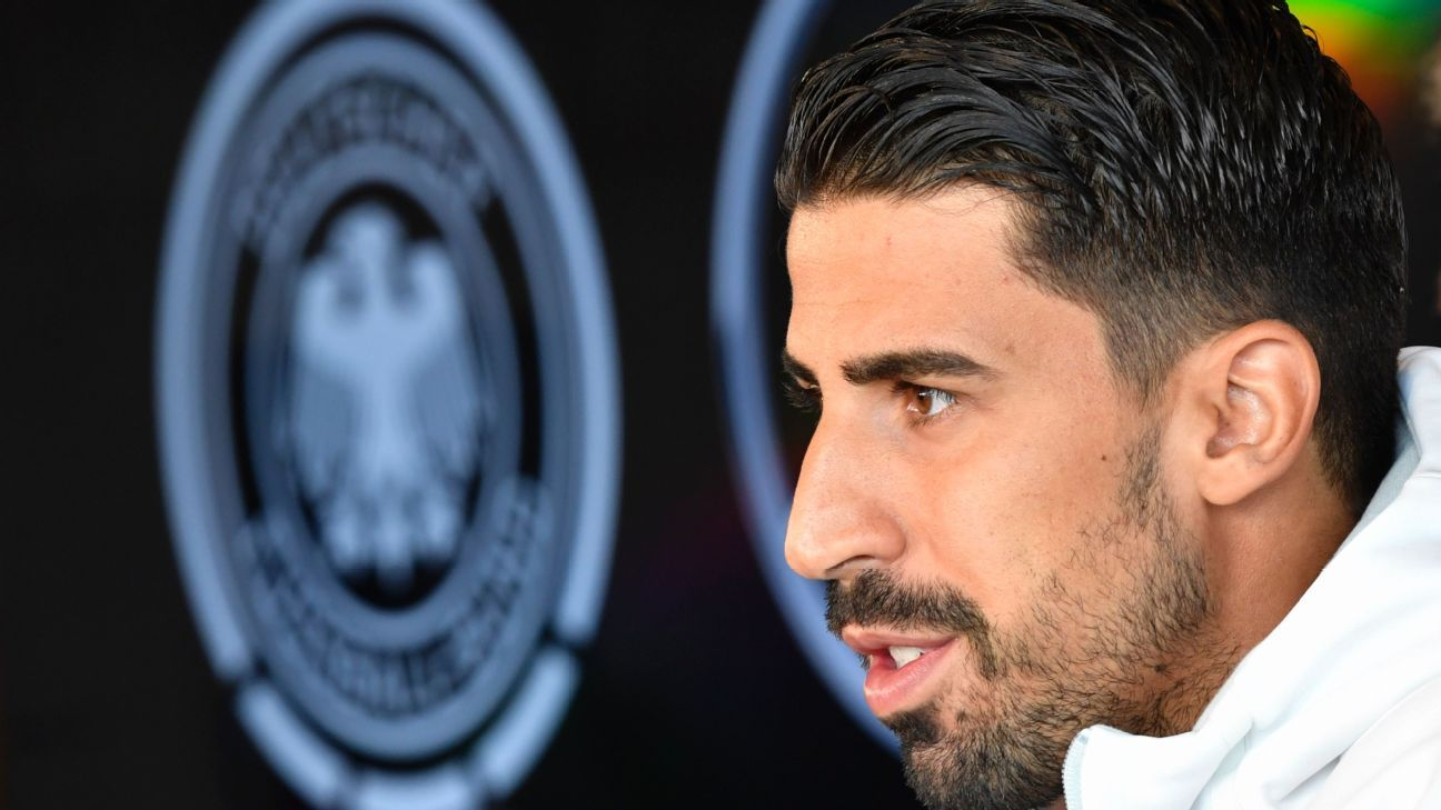 Sami Khedira speaking at a news conference ahead of Germany's game against Norway.