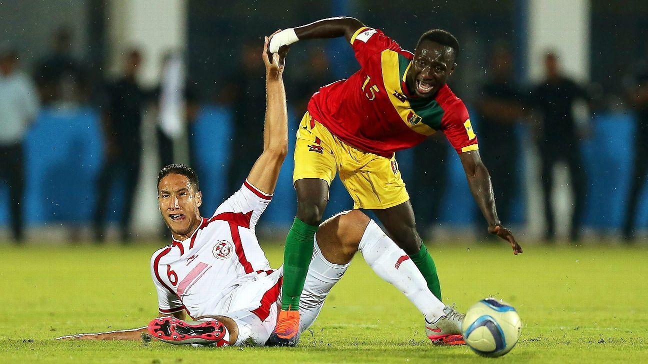 Tunisia's Bilel Mohsni & Guinea's Naby Keita