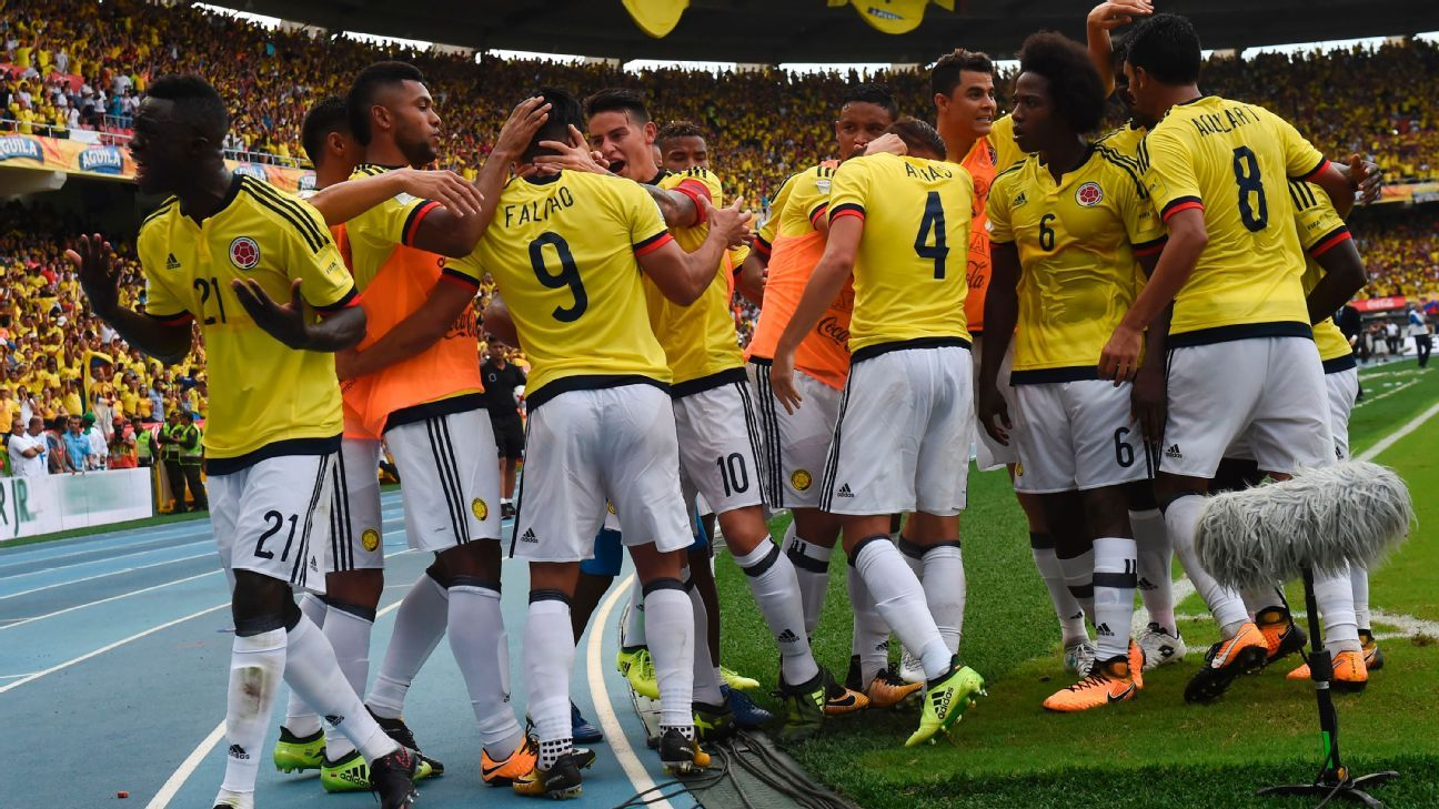 Colombia celebrate Falcao's goal against Brazil on Tuesday.