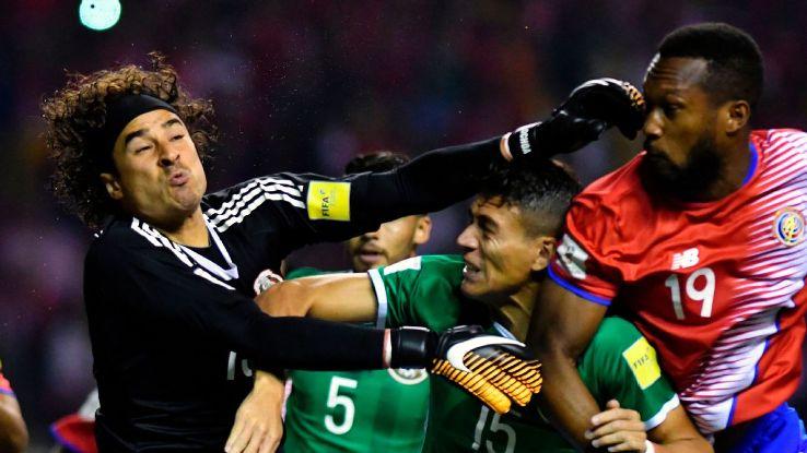 Guillermo Ochoa in action for Mexico vs. Costa Rica.