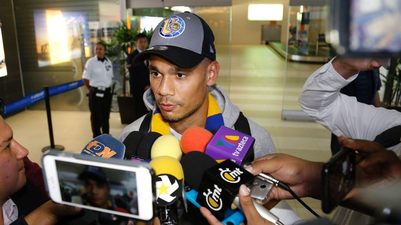 Timothee Kolodziejczak speaks to reporters after at Monterrey Airport in Mexico.