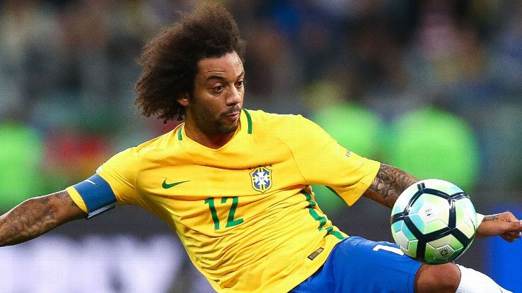 Marcelo in action for Brazil against Ecuador.