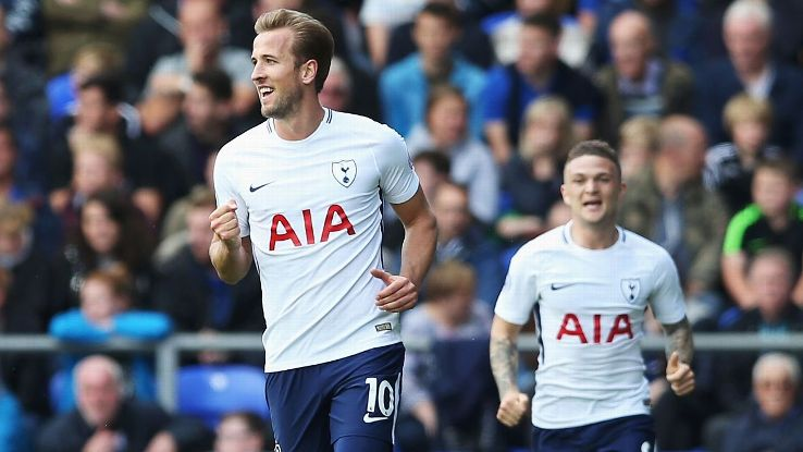 Harry Kane celebrates one of his two goals on Saturday.