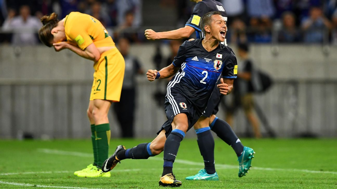 Yosuke Ideguchi of Japan scores v Australia 2017