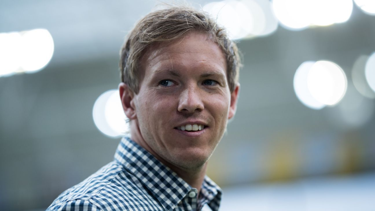 Julian Nagelsmann during Hoffenheim's Bundesliga win against Bayern Munich.