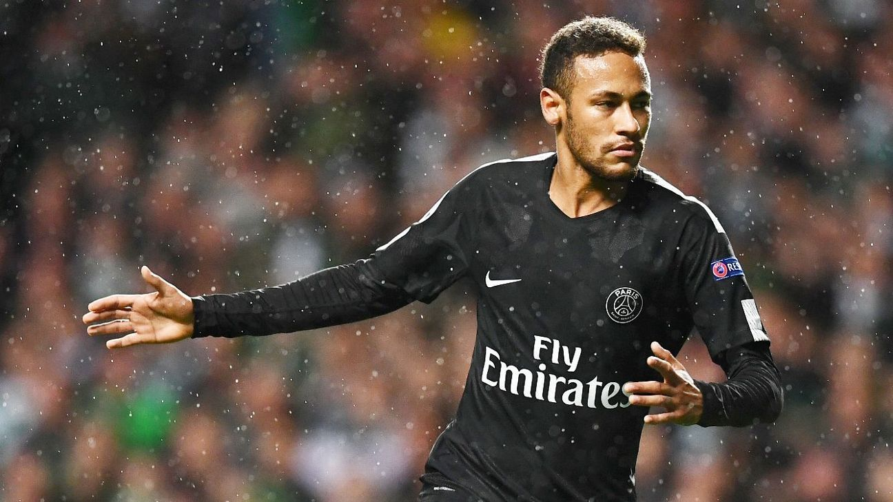 Neymar celebrates after opening the scoring for PSG in a runaway win against Celtic.