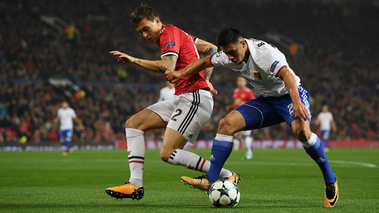 Victor Lindelof in action for Manchester United against Basel in the Champions League.