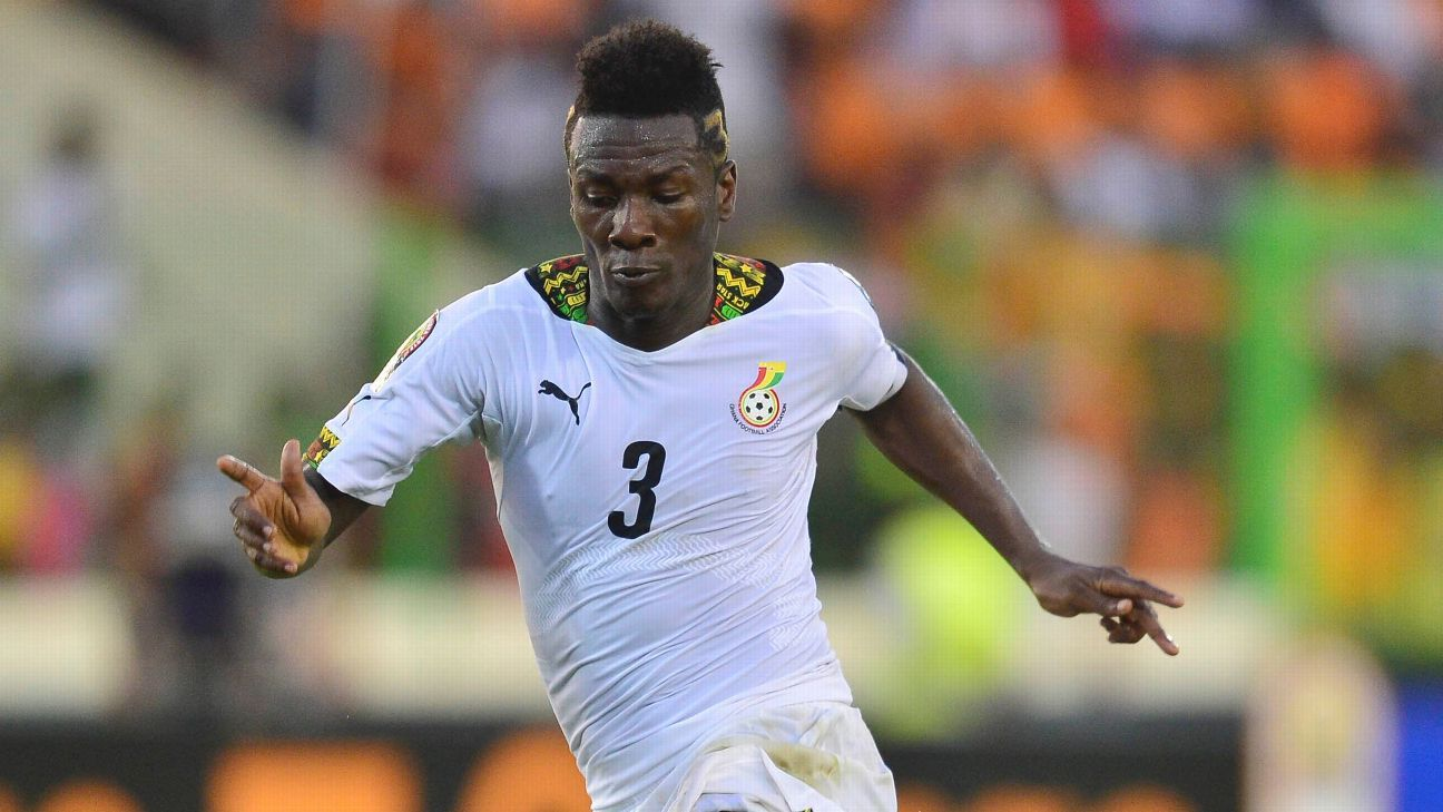 Asamoah Gyan in action for the Black Stars