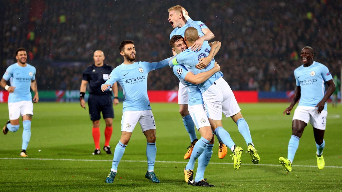 John Stones scored a pair of goals in Man City's victory over Feyenoord.