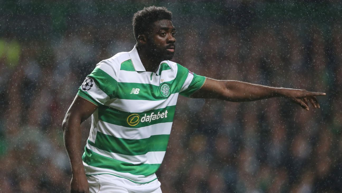 Kolo Toure in action for Celtic against Manchester City in the Champions League.