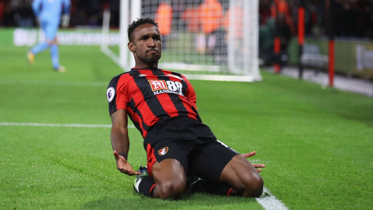 Jermain Defoe celebrates after scoring the winner for Bournemouth against Brighton and Hove Albion.