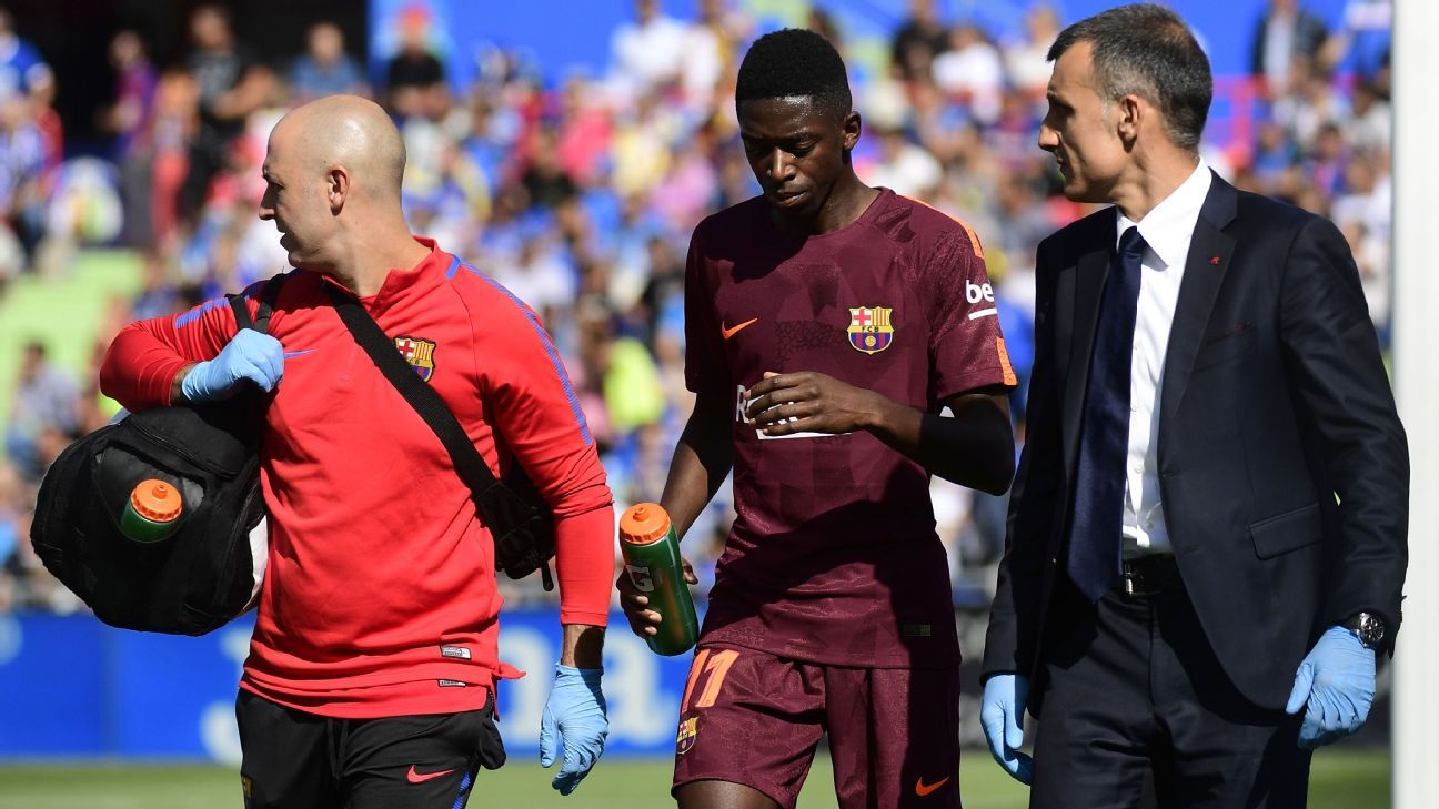 Barcelona's Ousmane Dembele ruled out for three and a half months