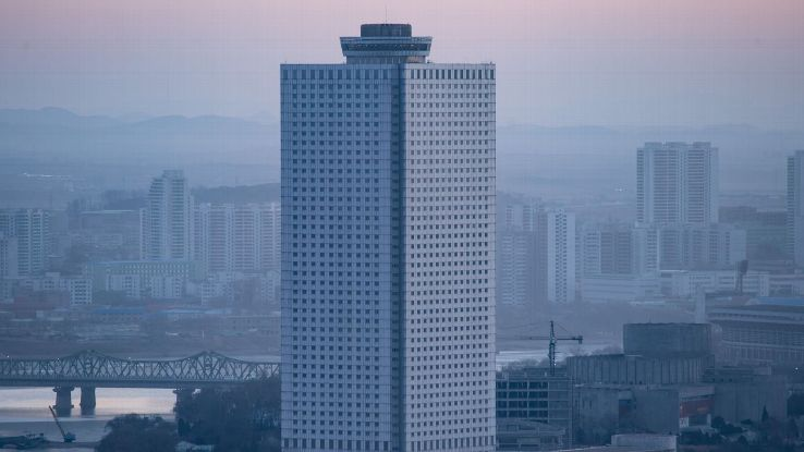 The Yanggakdo International Hotel is a swank structure standing 170 meters tall on Yanggak island on the Taedong river