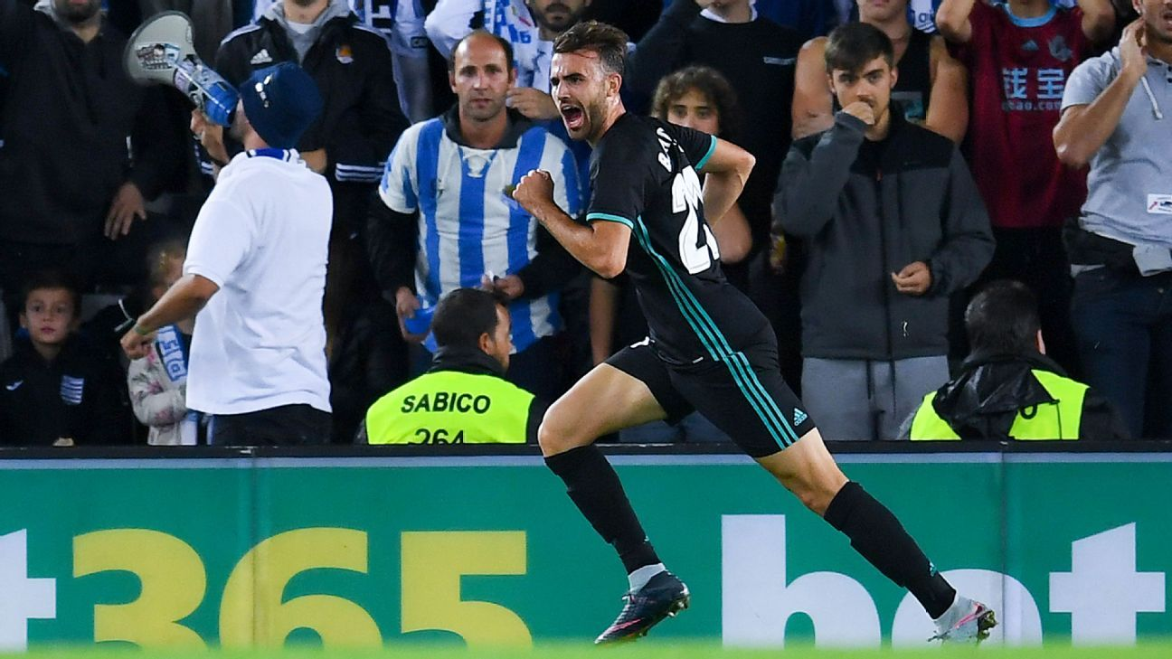 Borja Mayoral of Real Madrid celebrates after scoring a goal against Real Sociedad on Sunday.