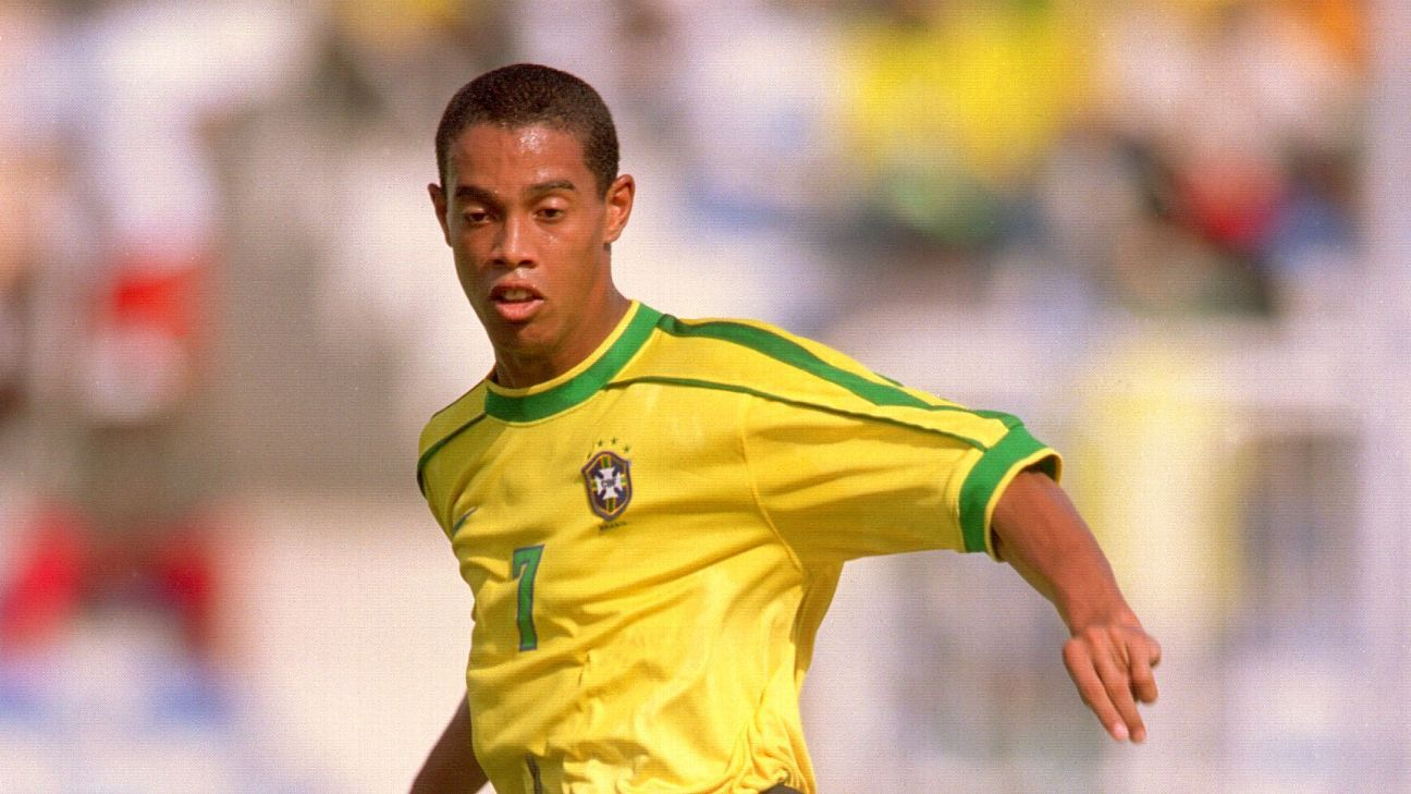 Ronaldinho in action against Uruguay in the quarter-finals of the 1997 U-17 World Cup. Ronaldinho is the only player to have won the U-17 World Cup and the senior World Cup for his national team.