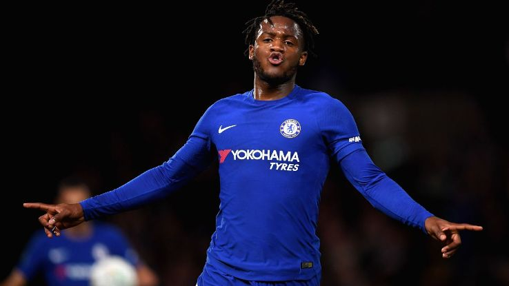 Michy Batshuayi celebrates after scoring the first of his three goals against Forest.