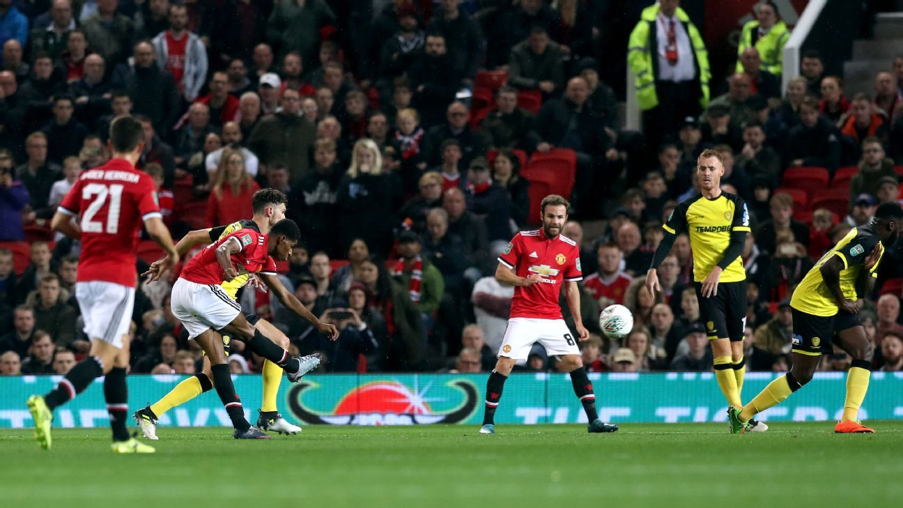 Marcus Rashford scored twice as Man United eased past Burton Albion on Wednesday.