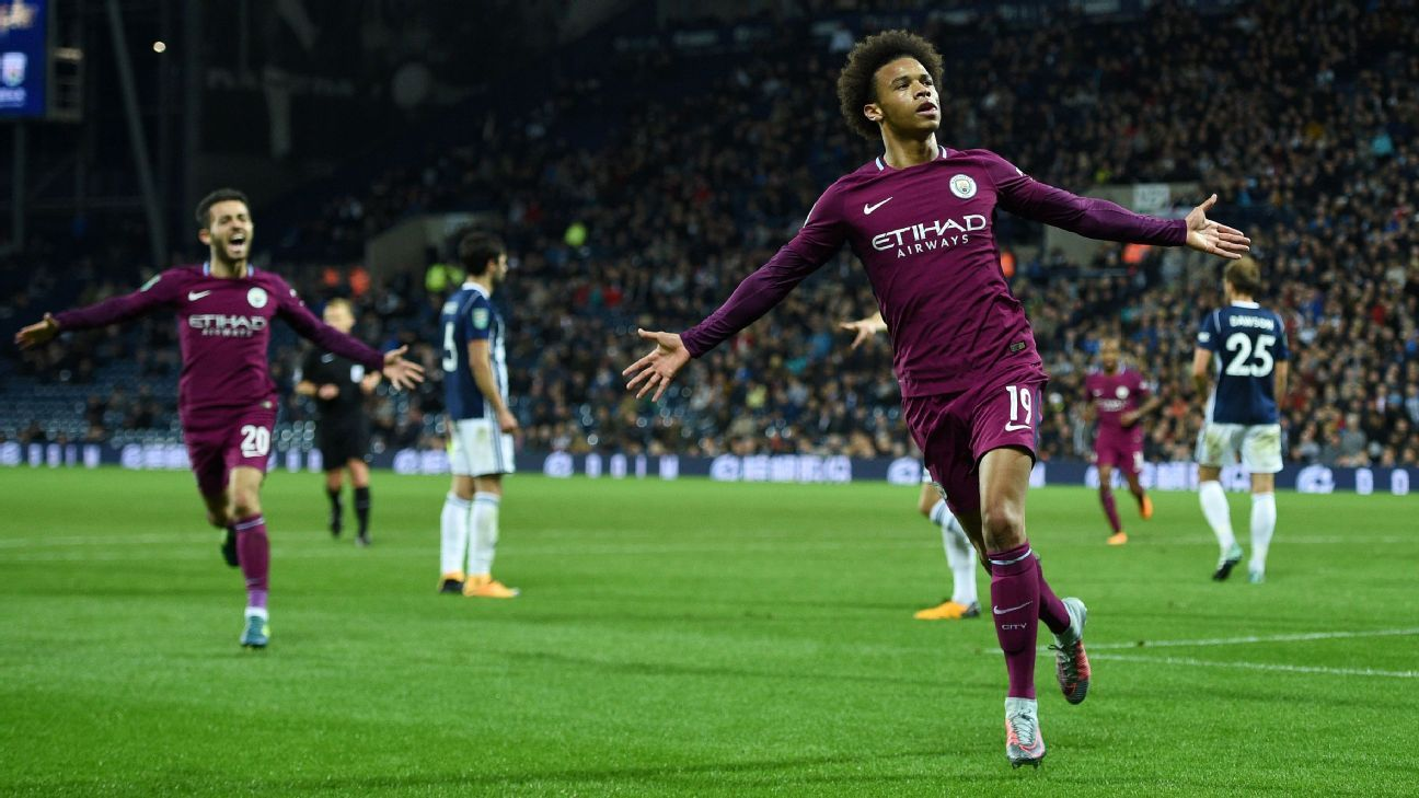 Leroy Sane celebrates after scoring the winner for Man City against West Brom.