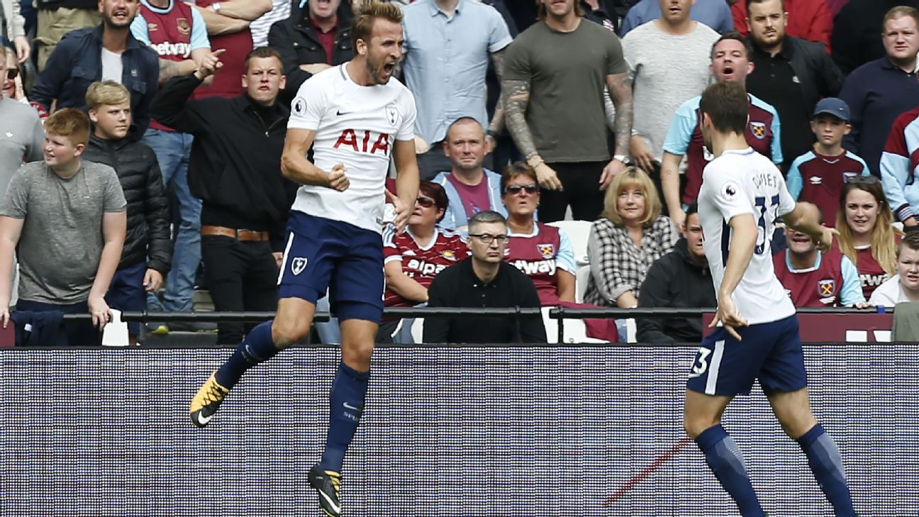 Harry Kane netted twice in the space of four first-half minutes for Tottenham.