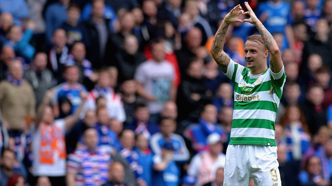 Leigh Griffiths celebrates after scoring for Celtic against Rangers at Ibrox.