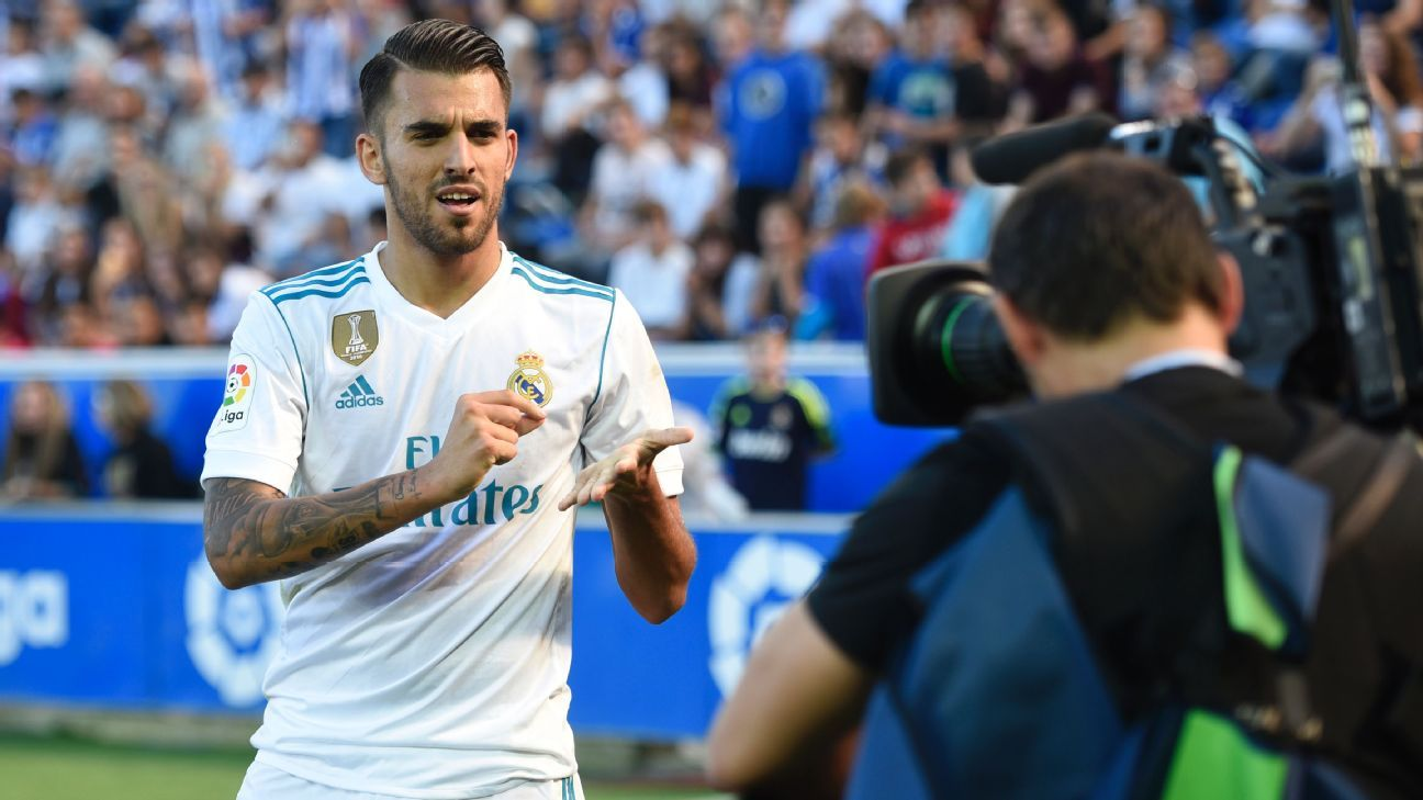 Dani Ceballos celebrates after scoring for Real Madrid in their La Liga game at Alaves.