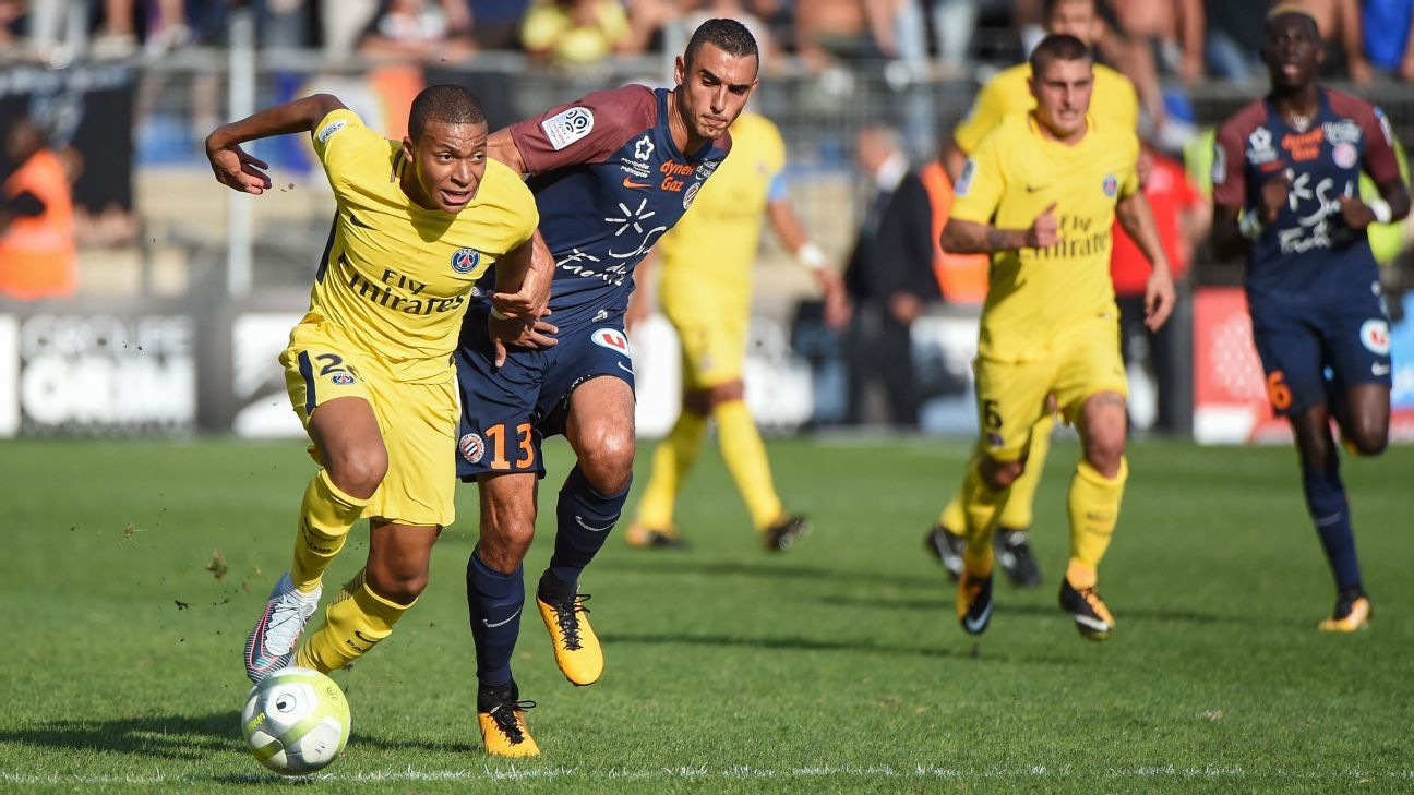 Kylian Mbappe in action for Paris Saint-Germain during their Ligue 1 game against Montpellier.