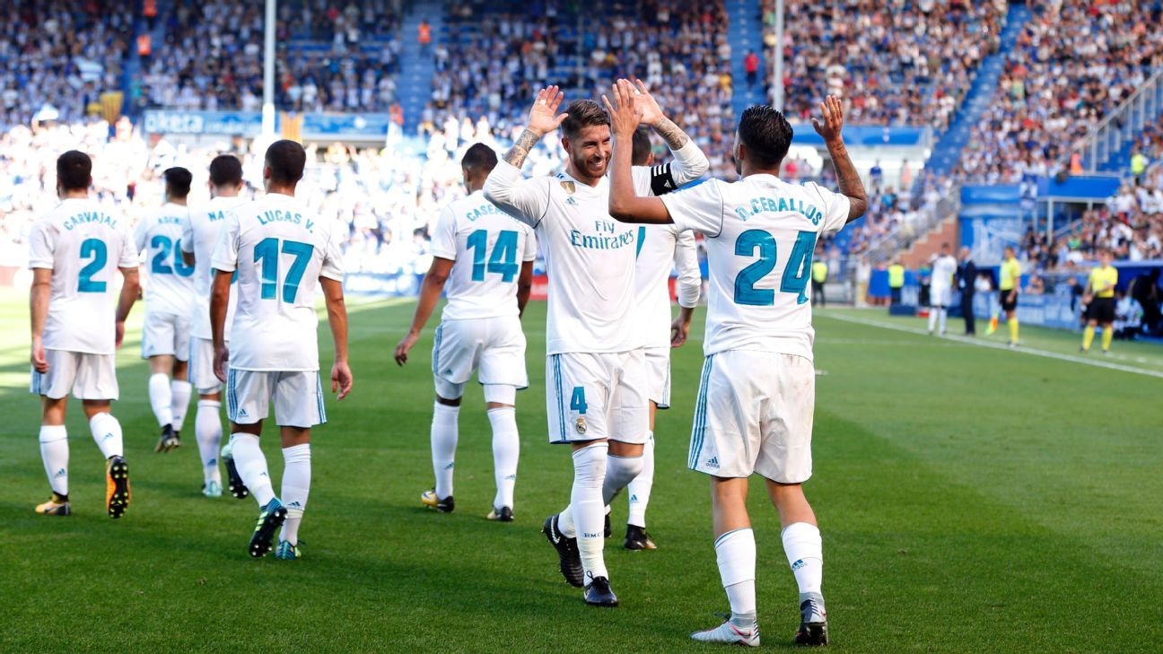 Dani Ceballos is congratulated by Sergio Ramos after scoring for Real Madrid against Alaves.