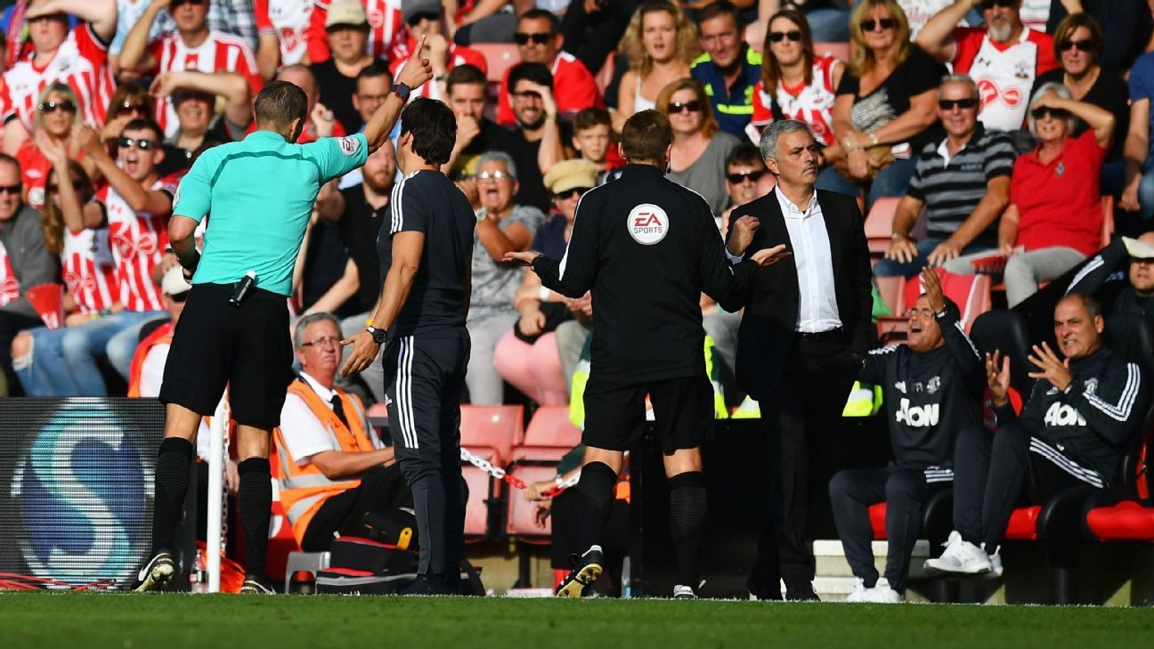 Jose Mourinho is sent off as during Manchester United's Premier League win against Southampton.