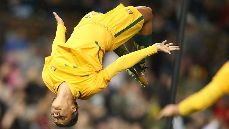 Sam Kerr of the Matildas celebrates a goal during the Women's International match between the Australian Matildas and Brazil at McDonald Jones Stadium on September 19, 2017 in Newcastle, Australia.