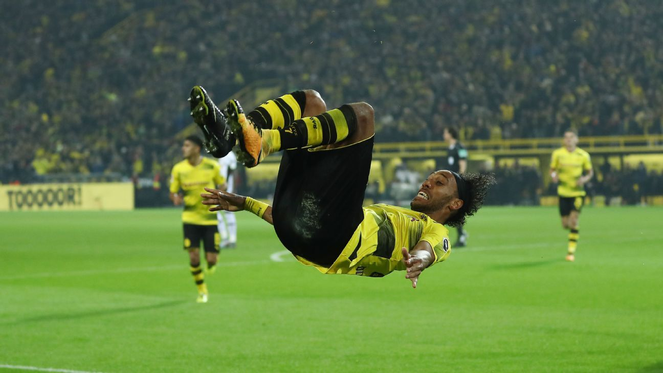Aubameyang celebrates his hat-trick during a 6-1 rout of Borussia Moenchengladbach. Borussia Dortmund lead the Bundesliga table after six games, having scored 19 goals in the process, 8 of them coming from Aubameyang.