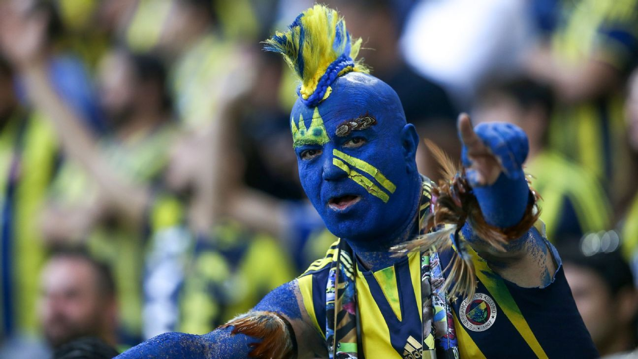A Fenerbahce fan in full face paint watches the Istanbul derby against Besiktas