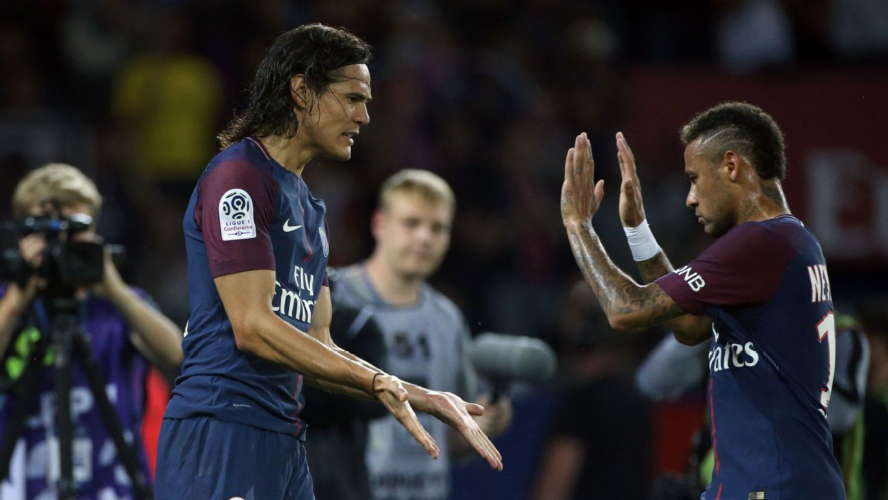 Edinson Cavani and Paris Saint-Germain teammate Neymar celebrate a goal against St Etienne.
