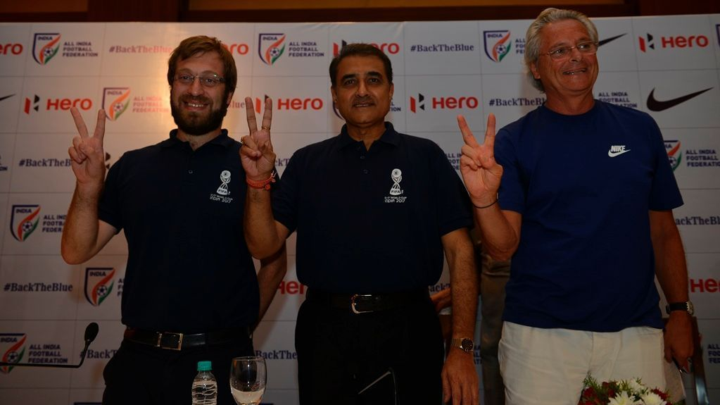 (From left) FIFA U-17 World Cup tournament director Javier Ceppi, AIFF president Praful Patel and India U-17's head coach Luis Norton de Matos at a press conference in New Delhi.