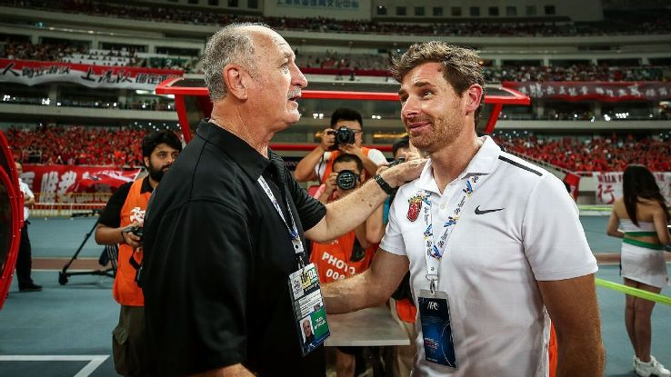 Luiz Felipe Scolari of Guangzhou Evergrande and Andre Villas-Boas of Shanghai SIPG