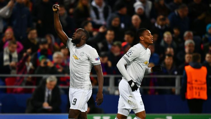 Romelu Lukaku celebrates after scoring a goal for Man United against CSKA Moscow.