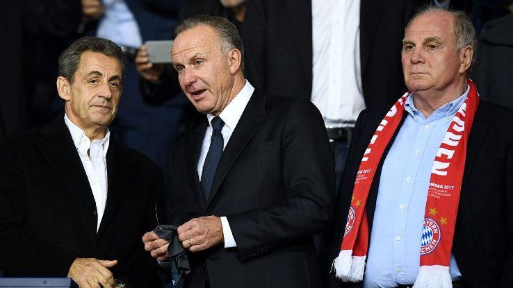 Bayern Munich's Karl-Heinz Rummenigge and Uli Hoeness meet ex-French President Nicolas Sarkozy at PSG