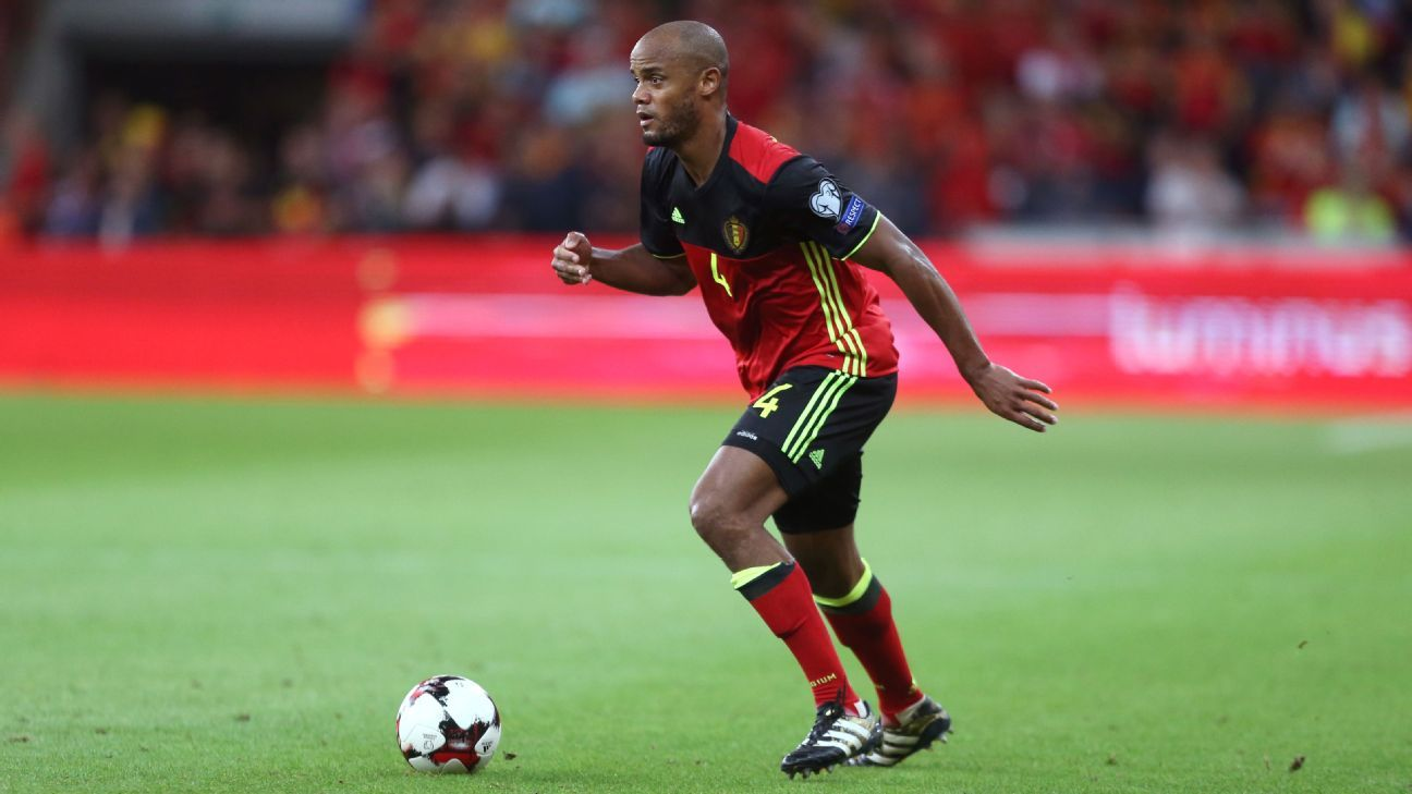 Vincent Kompany in action for Belgium against Gibraltar.