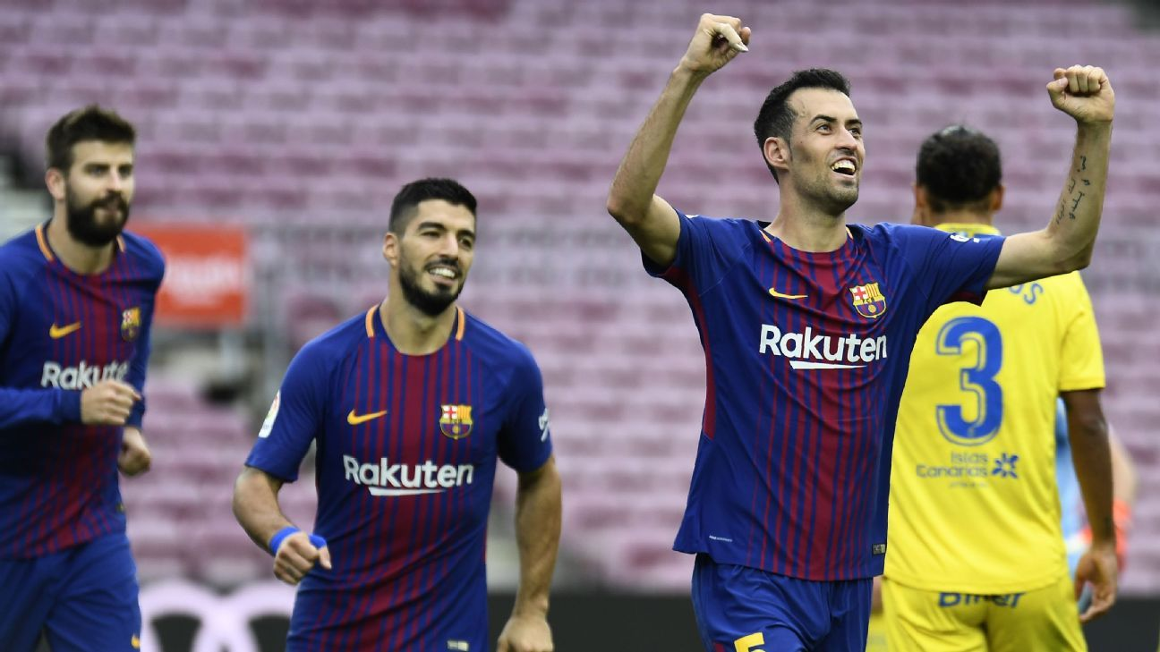 Sergio Busquets opened the scoring in an empty Camp Nou on Sunday.