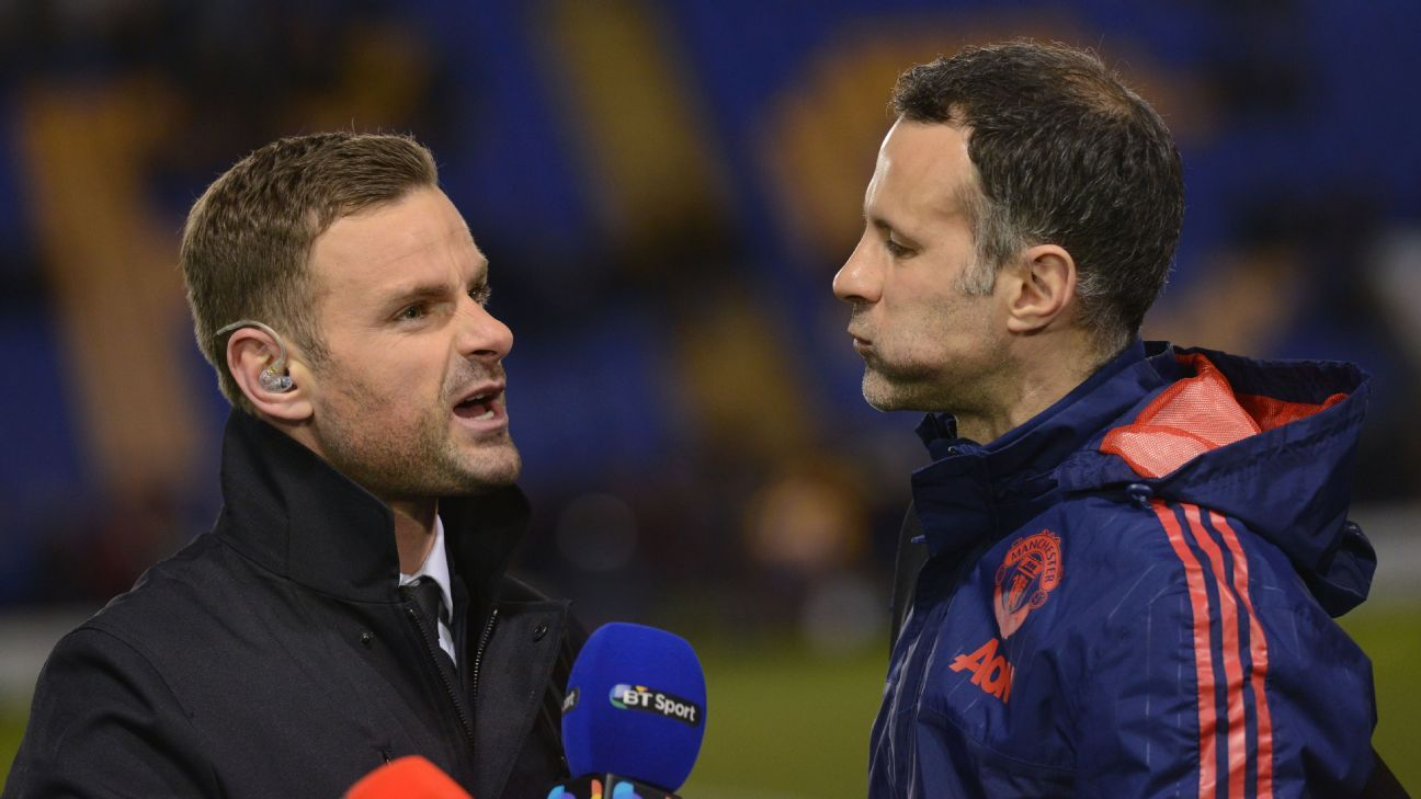 Former Manchester United academy graduate Richie Wellens (left) chats to Ryan Giggs.